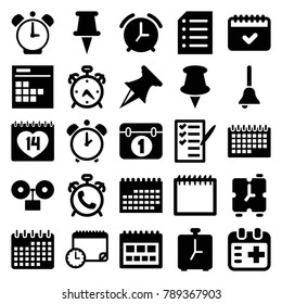 Reminder icons. set of 25 editable filled reminder icons such as alarm, calendar, pin, check list, 14 date, medical appointment, paper, bell, calendar with clock