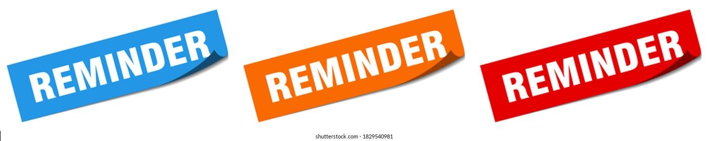 reminder paper peeler sign set. reminder sticker
