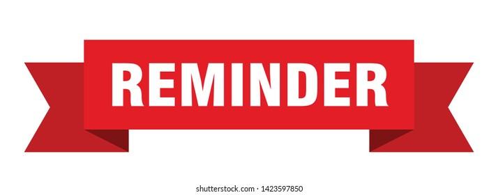 reminder ribbon sticker. reminder sign. reminder banner