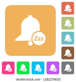 Reminder snooze flat icons on rounded square vivid color backgrounds.