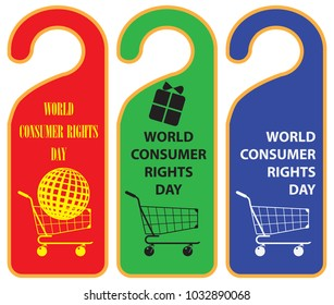 Reminder tags for World Consumer Rights Day. Vector illustration.