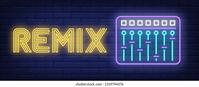 Remix neon text with equalizer. Music, party and disco design. Night bright neon sign, colorful billboard, light banner. Vector illustration in neon style.