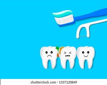 The remnants of food stuck between tooth, need to clean. Cute cartoon teeth character with toothbrush and dental floss. Vecor illustration isolated on blue background. Dental care concept.