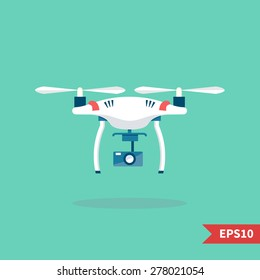 Remote aerial drone with a camera taking photography or video recording . Vector art on isolated background. Flat design.
