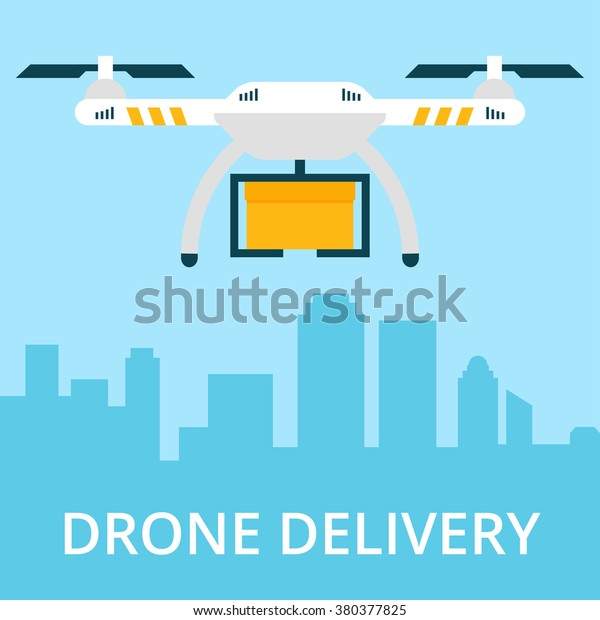 Remote Air Drone Box Flying Sky Stock Vector (Royalty Free