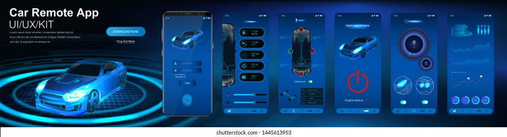 Remote car control app. Smart car security system UI,UX,KIT. Remote monitoring and control of the car, indicators of sensors and data online. Mobile application auto (Dashboard, lock, run, data)
