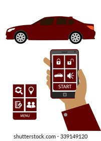 Remote car starter system. Hand holding a smart phone with remote car starter system app.