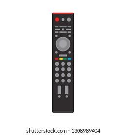 Remote control black TV equipment device communication sign media vector icon. Flat smart television program