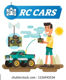 Remote control cars vector illustration. Boy with joystick buttons drive wireless car with antenna. Electronic toy with wheels to drive off road. wifi system symbol. Equipment for radio wave receiver.