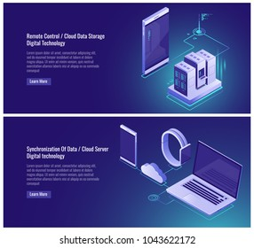 Remote control, cloud data storage, server room rack, mainframe, electronic devices, synchronization data, smartphone samrtwatch laptop isometric vector illustration on ultraviolet background
