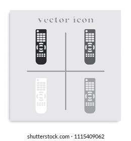 Remote control flat black and white vector icon.