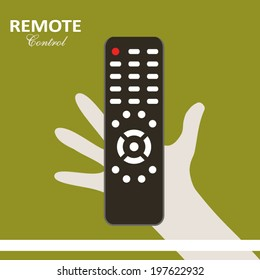 Remote control flat design poster with hand holding control panel on green yellow background art
