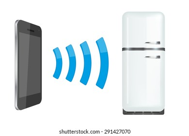 Remote control fridge or home appliances via smartphone. Vector Illustration isolated on white background.
