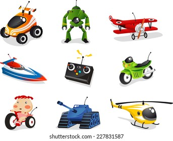 Remote control toy collection, includes car, boat, airplane, helicopter, robot and many more.