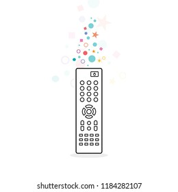 Remote control. TV remote controller. Concept of  entertainment, movies on demand, TV channels.Vector illustration, flat design