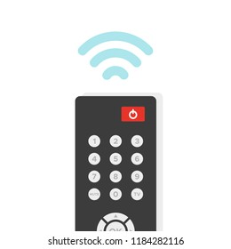 Remote control. TV remote controller with wireless signal. Vector illustration, flat design