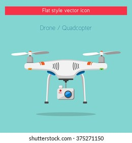 Remote controlled aerial drone with a camera and recording button taking photography or video recording . Isolated vector art. Flat style concept design.