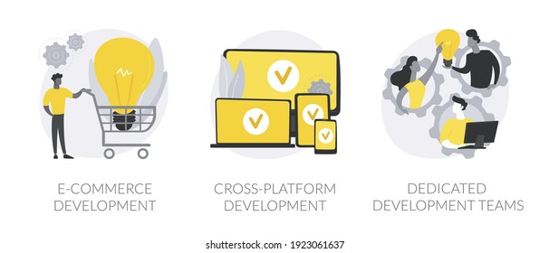 Remote developers team abstract concept vector illustration set. E-commerce development, cross-platform, dedicated team, web application, software environment, operating system abstract metaphor.