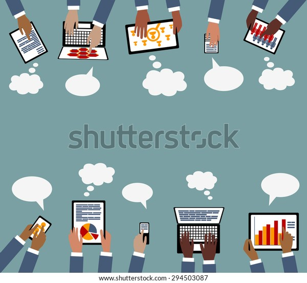 Remote distance learning or work from home during covid coronavirus quarantine technolgy Business Collaboration Multi Racial hands with Devices - Grouped and layered EPS10