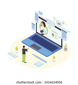 Remote doctor consultation isometric illustration. Male patient on video conference with cardiologist. Telemedicine specialist giving prescriptions cartoon character. Distance medical service
