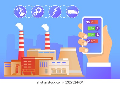 Remote factory management.Smart industry 4.0.The hand holds smartphone about the application Industrial building.