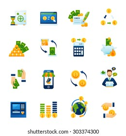 Remote foreign currency paying and exchange with internet computer banking system flat icons set abstract vector illustration