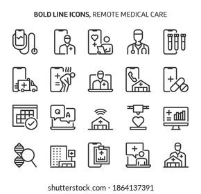 Remote medical care, bold line icons. The illustrations are a vector, editable stroke, 48x48 pixel perfect files. Crafted with precision and eye for quality.