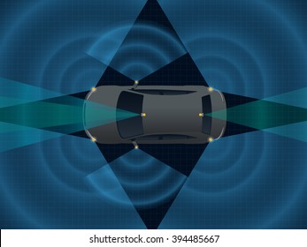 Remote Sensing System of Vehicle. various cameras and sensors, smart car, safety car, autonomous car, top view, vector illustration