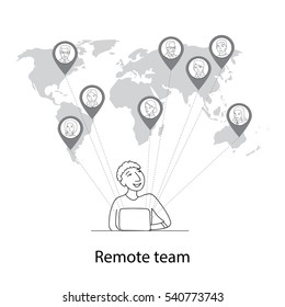 Remote team concept, man at laptop connecting with other people all around the world, thin line style vector