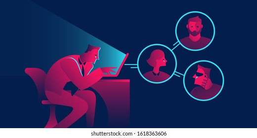 Remote team, conference, chat business concept in red and blue neon gradients