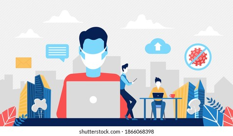 Remote work to avoid coronavirus covid19 vector illustration. Cartoon freelancer man character in mask working online with laptop from home during quarantine, remote business freelance job background