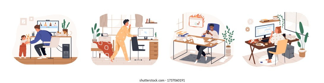 Remote work disadvantages. Home office problems. Stress eating, missing the deadline, procrastination. Freelancer is late for work, kid distracting father. Vector illustration in flat cartoon style