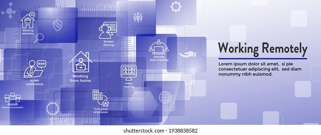 Fernbedienungssymbol-Set und Webheader-Banner