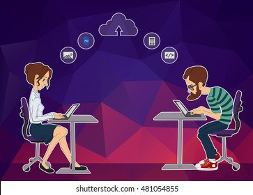 Remote work on project Hackathon. Business man and woman looking at laptop. Remote technology on Hackathon. Cloud backend as a service. Guy and girl sitting and looking at laptop. Businessman looking