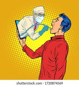 remote work online help. dentist drills a tooth. Pop art retro vector illustration kitsch vintage 50s 60s style