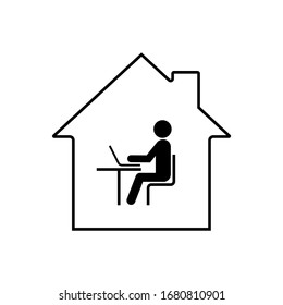 Remote work online icon. Work from home.