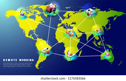 Remote Working concept based website template design with multiple business people at distant places connected each other through internet on world map background.