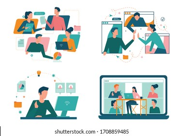 Remote working concept set. Telework and global outsourcing, Employee work from home. Social-distance during corona virus quarantine. Isolated flat vector illustration
