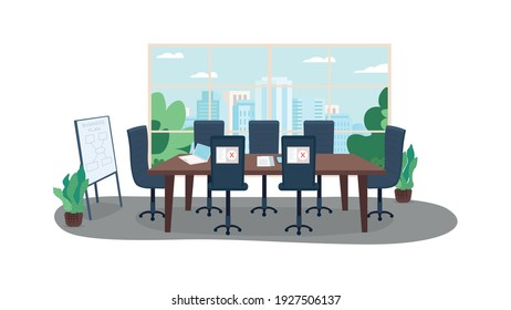 Remote working flat color vector illustration. Business plan during corona virus pandemic. Rules during lockdown. Managing positions 2D cartoon interior with big statistic chart on background
