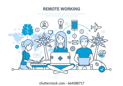 Remote working, freelancer, modern information technology, the workplace, tools freelancer and working space. Illustration thin line design of vector doodles, infographics elements.
