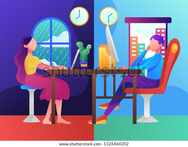 Remote Working Part Time Job Designer Stock Vector (Royalty Free