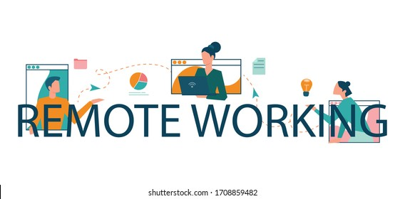 Remote working typographic header concept. Telework and global outsourcing, Employee work from home. Social-distance during corona virus quarantine. Isolated flat vector illustration