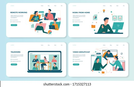 Remote working web banner or landing page set. Telework and global outsourcing, Employee work from home. Social-distance during corona virus quarantine. Isolated flat vector illustration