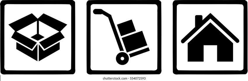 Removal man icons - box, hand truck, home