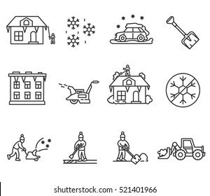 Removal of snow and ice, linear symbols collection. Equipment and tools for snow removal, isolated vector illustration