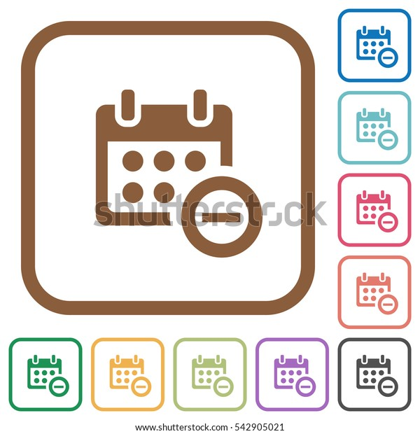 Remove from calendar simple icons in color rounded square frames on white background