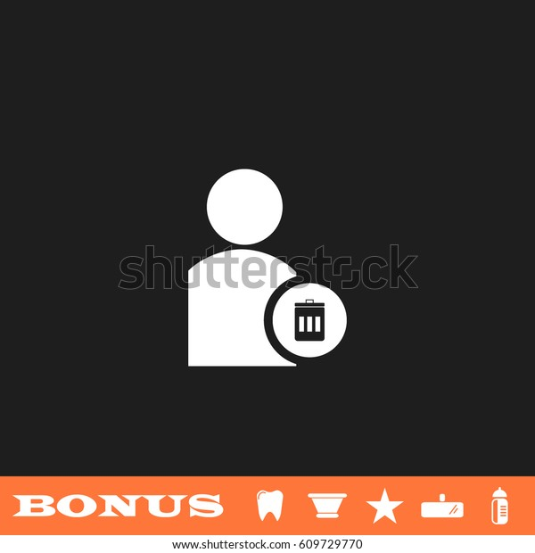 Remove contact icon flat. White pictogram on black background. Vector illustration symbol and bonus button tooth, vase, star, mirror, bottle