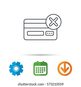 Remove credit card icon. Shopping sign. Calendar, cogwheel and download arrow signs. Colored flat web icons. Vector