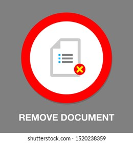 Remove document icon - vector document illustration with Remove mark