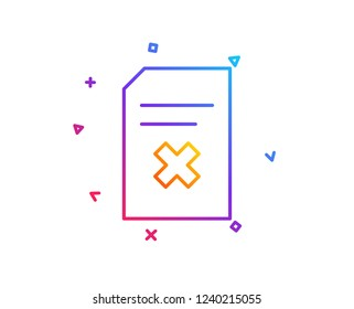 Remove Document line icon. Delete Information File sign. Paper page concept symbol. Gradient line button. Delete file icon design. Colorful geometric shapes. Vector